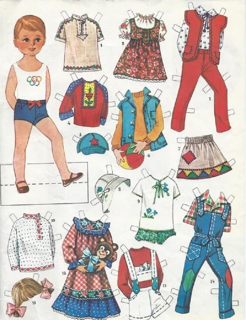 советская бумажная кукла мальчик