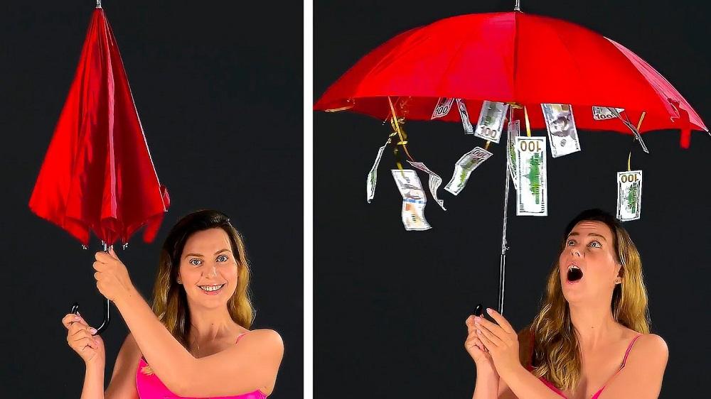 денежный зонт подарок