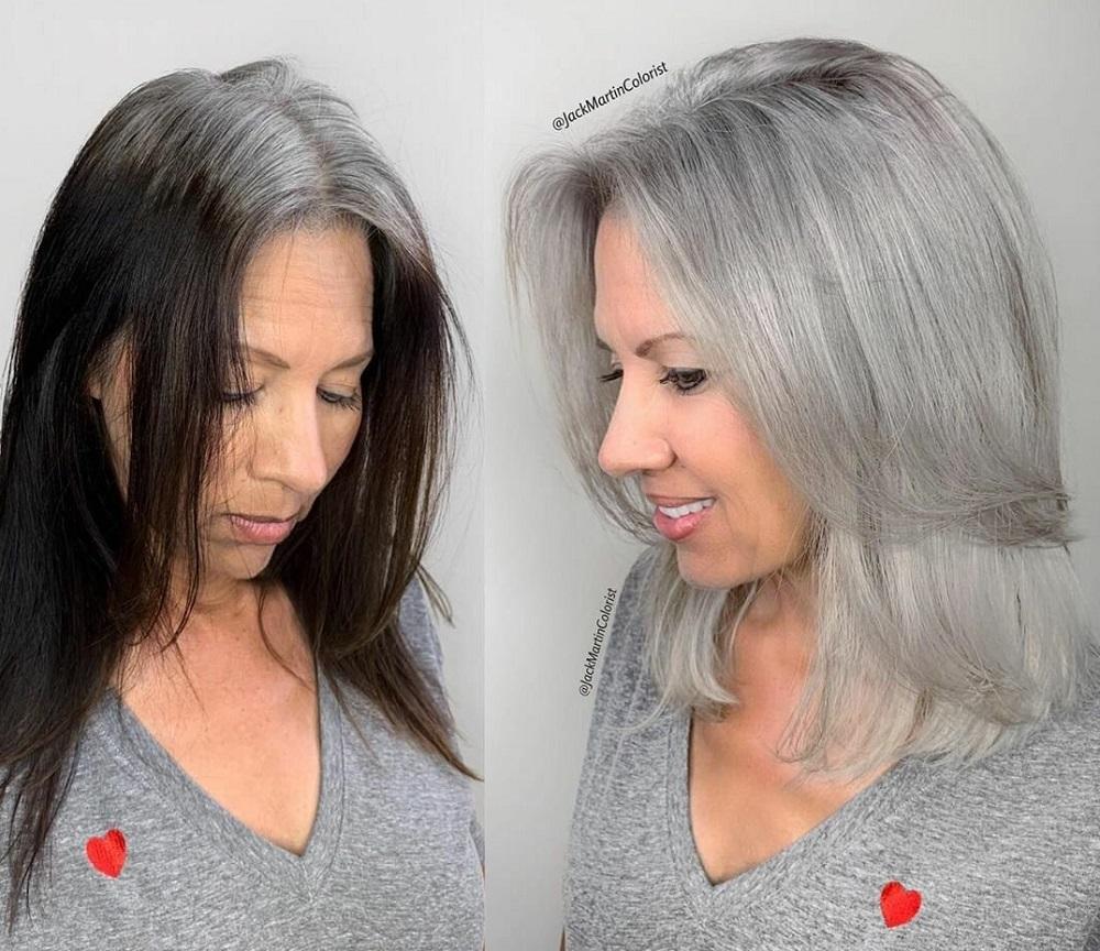 красивое окрашивание седых волос