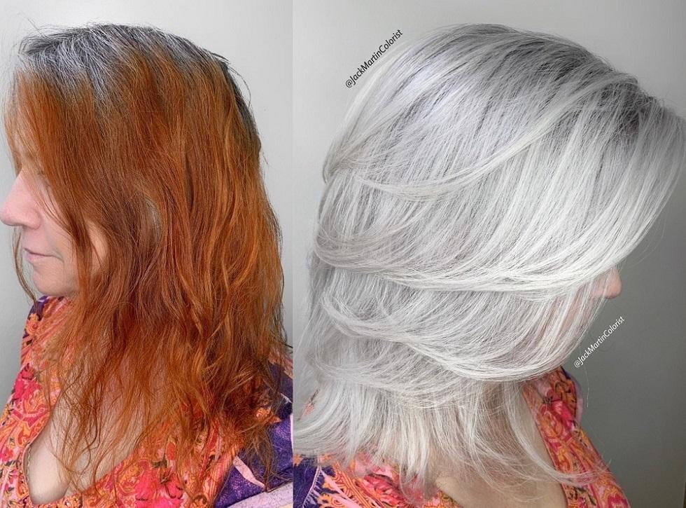 окрашивание рыжих волос с сединой