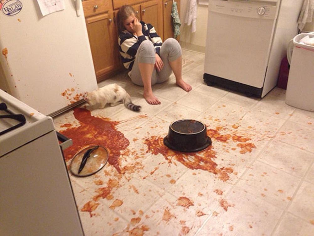 кулинария для начинающих еда на полу
