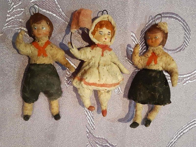 советские елочные игрушки из ваты