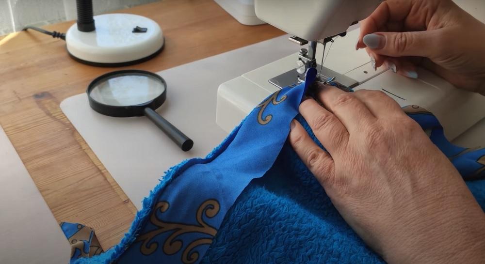 пришить косую бейку к ткани