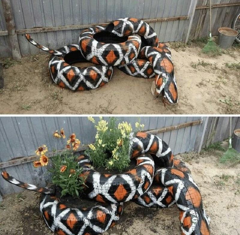 оформление клумбы в виде змеи
