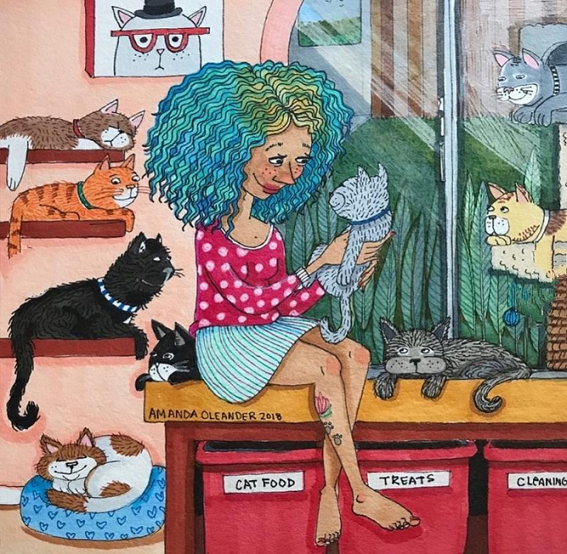 рисунок аманды олеандр женщина с кошками