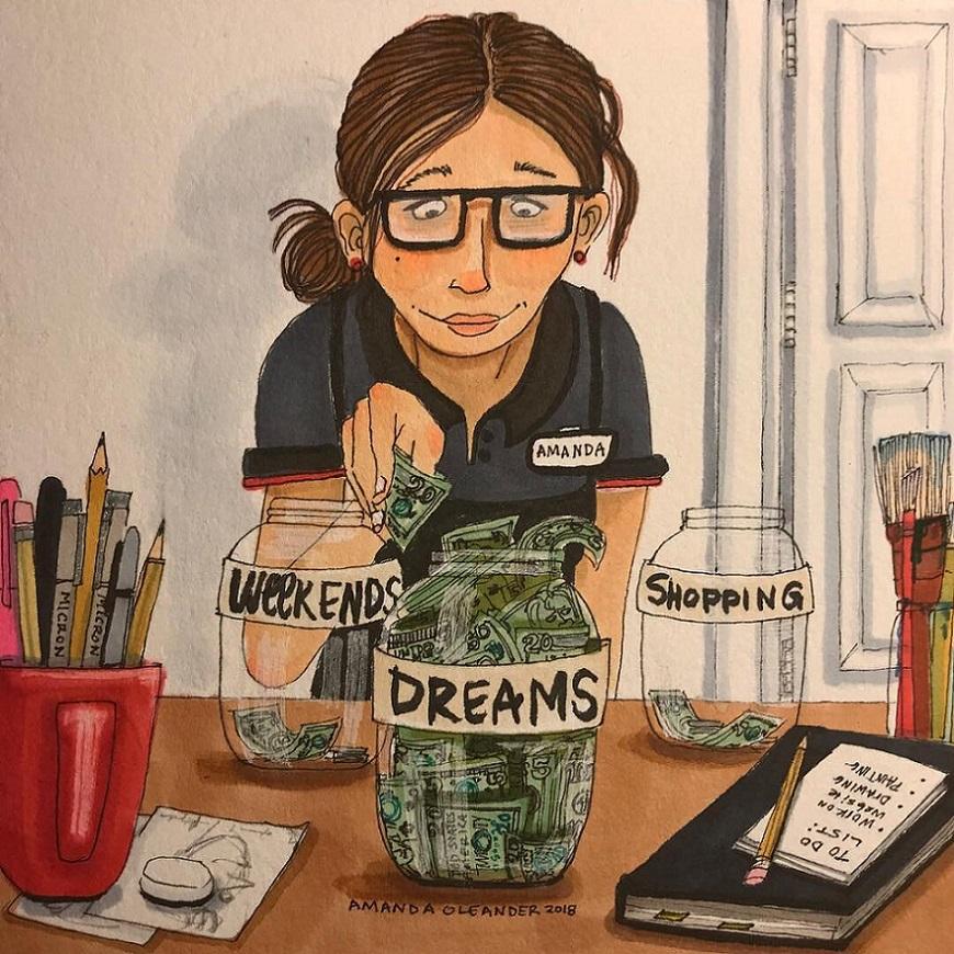 женщина копит деньги на мечты
