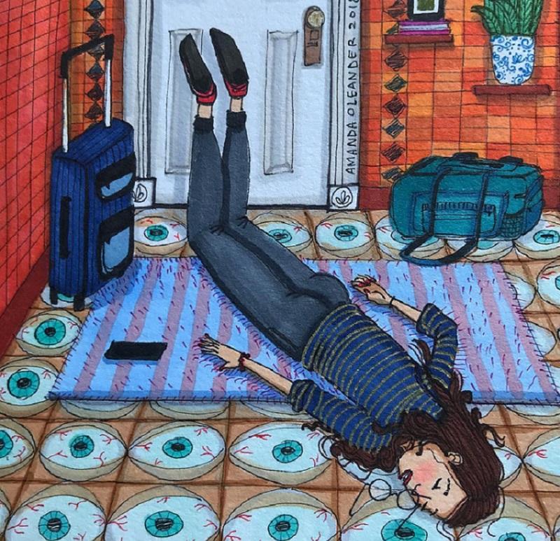 женщина устала рисунок