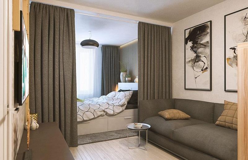 Зонирование однокомнатной квартиры шторами
